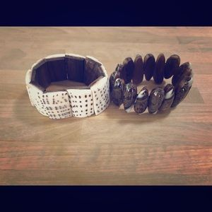 Shell and wood bracelets